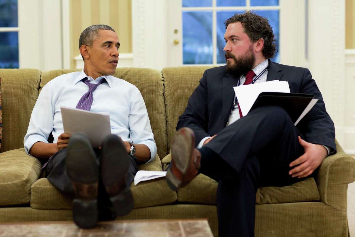 """Ridgefield High School graduate Cody Keenan, right, served as the White House director of speechwriting during former President Barack Obama's second term. Keenan helped the Ridgefield Symphony Orchestra develop its latest piece, """"A More Perfect Union,"""" which is based on Obama's speeches. Jan. 27, 2014."""