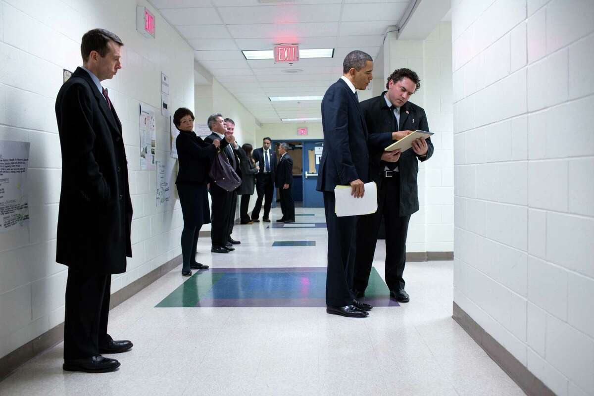 Following the Sandy Hook Elementary School shooting, Cody Keenan accompanied former President Barack Obama during a trip to Newtown on Dec. 16, 2012.