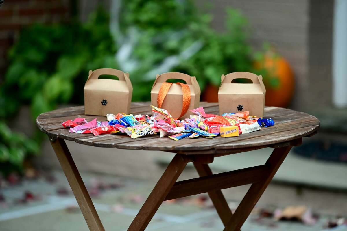An outdoor contactless Halloween candy display in the Georgetown neighborhood on October 31, 2020 in Washington, DC. (Photo by Shannon Finney/Getty Images)