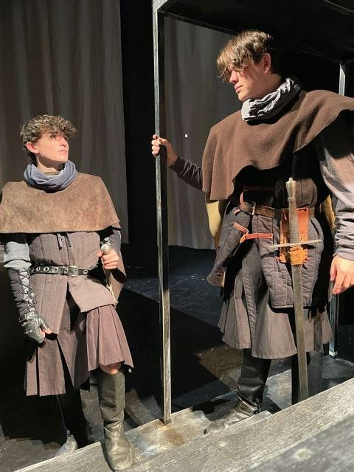 """Jonathan Sims, left, plays MacDuff and and Luke Johnstone plays Ross in Friendswood High School's production of William Shakespeare's """"MacBeth."""" Performances will be 7 p.m. Oct. 7-9 and 15-16 and 2:30 p.m. Oct. 10 and 17."""