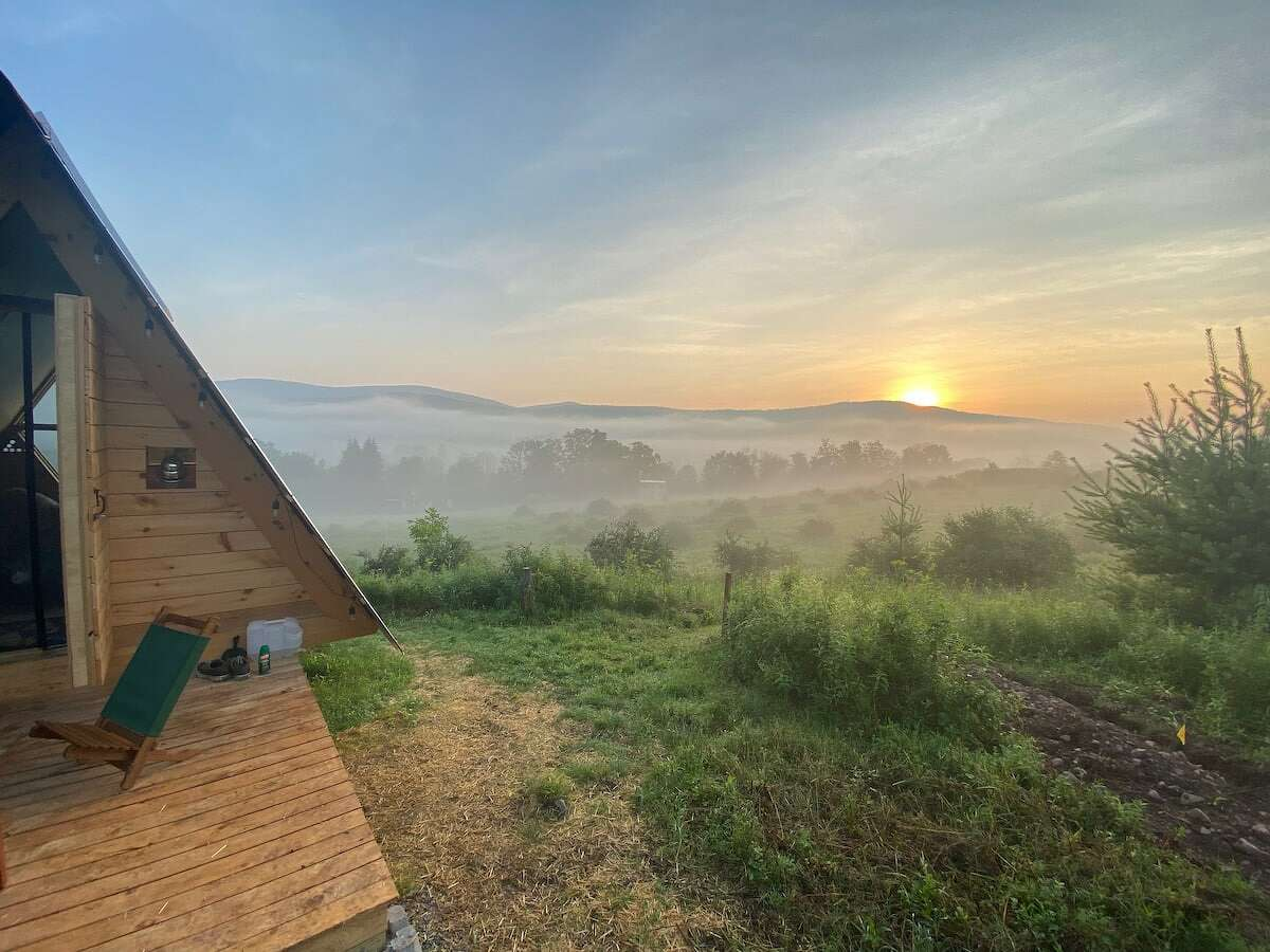 This is the gorgeous view that awaits you from the porch of the Diamond Notch A-frame.