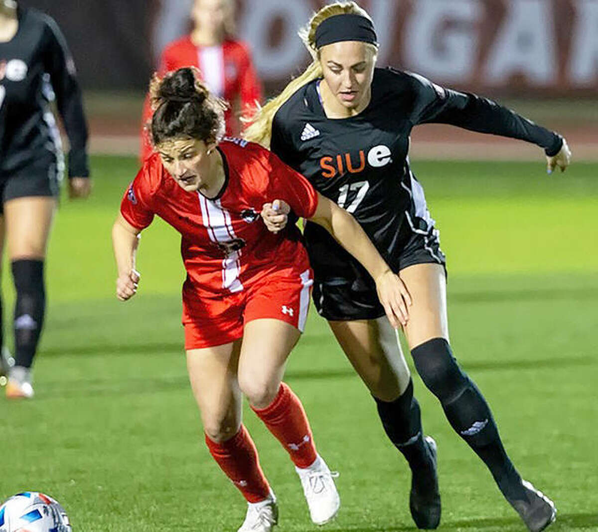 Following a five-point performance in Sunday's 4-3 overtime win at Tennessee Tech, SIUE women's soccer forward MacKenzie Litzsinger was named Ohio Valley Conference Offensive Player of the Week. She is shown in action last season.