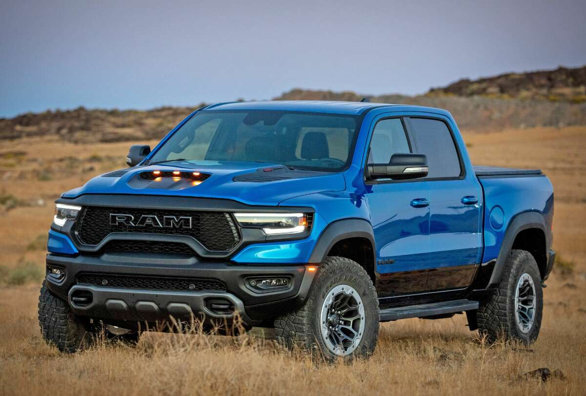 The 2021 Ram 1500 TRX comes with a 702-horsepower 6.2-liter Hemi V-8 engine and eight-speed automatic transmission.
