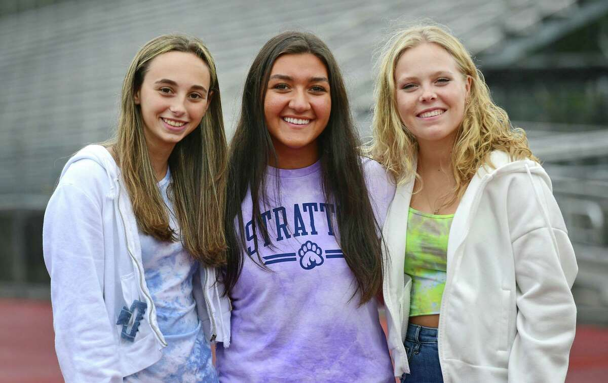 Norwalk High School Senior Class President, Oliva Mattera, center, and her classmates Morgan Minoff and Carly Saunders Tuesday, Setember 28, 2021, at the school in Norwalk, Conn.