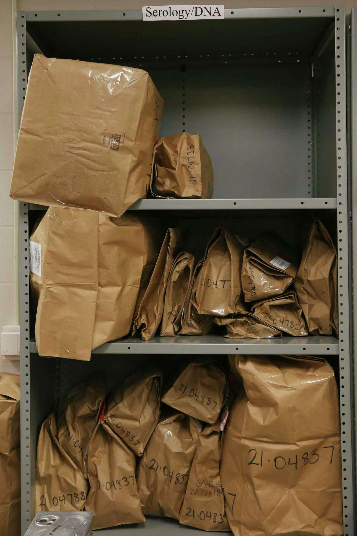Bags of evidence are stored at the Bexar County Crime Lab on Tuesday, Sept. 21, 2021.