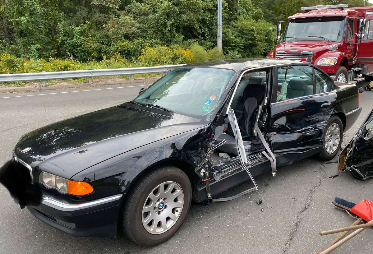 One person was extricated after a two-vehicle crash on Constitution Boulevard South near the Route 8 exit ramp in Shelton, Conn., on Tuesday, Sept. 28, 2021, fire officials said. The editing done to the license plate were not made by Hearst Connecticut Media.