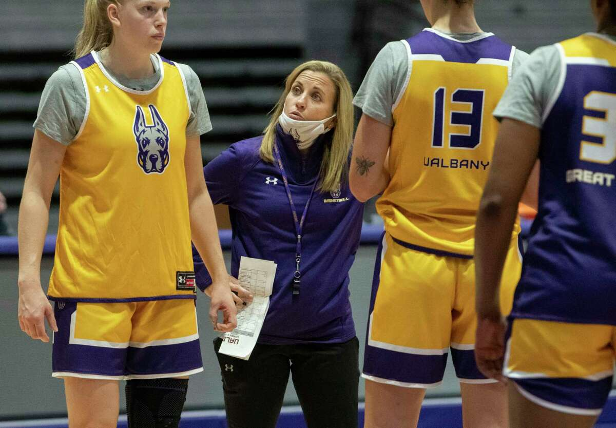 University at Albany women's basketball head coach Colleen Mullen works with her team during practice on Wednesday, Sept. 29, 2021 in Albany, N.Y.