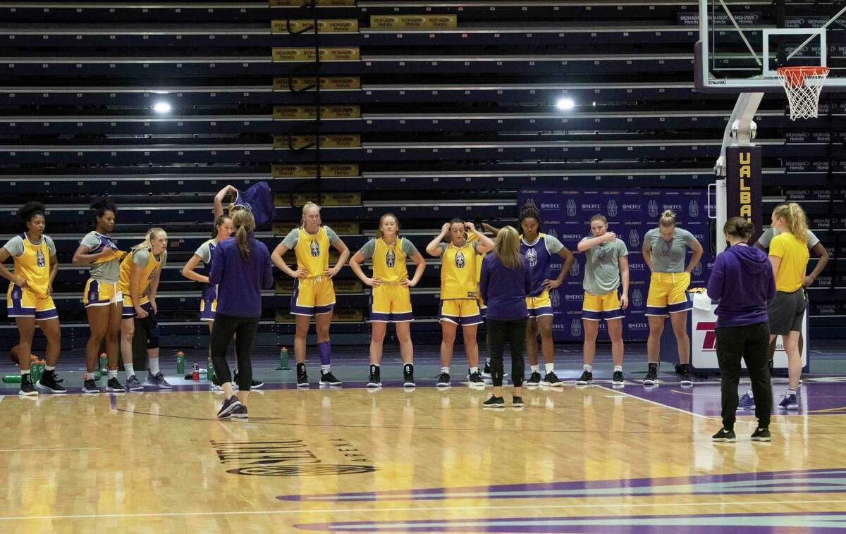 University at Albany players run through drills during the women's basketball practice on Wednesday, Sept. 29, 2021 in Albany, N.Y.