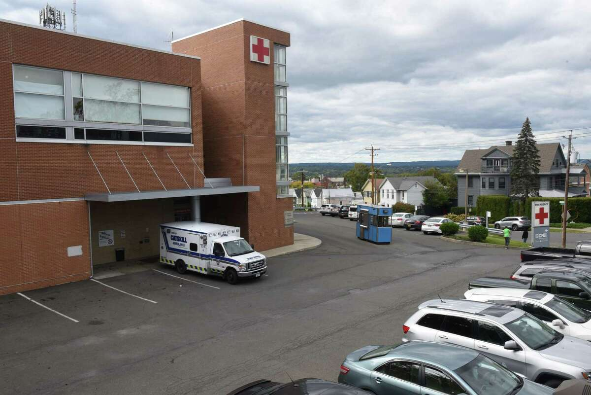 An ambulance is seen outside of Columbia Memorial Health's ER on Wednesday, Sept. 29, 2021 in Hudson, N.Y. The staffing shortage has backed it up, with wait times last week stretching up to five hours.