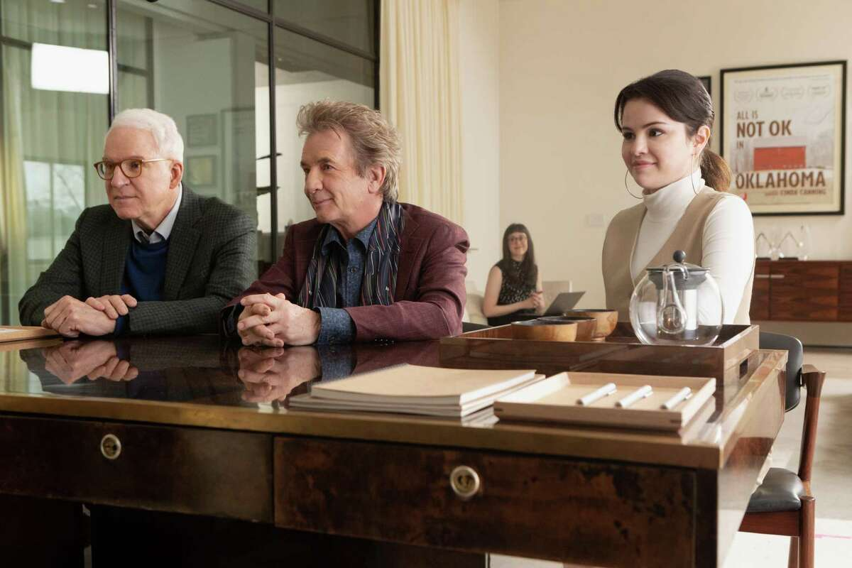 """Steve Martin, Martin Short and Selena Gomez in a still from """"Only Murders in the Building."""""""