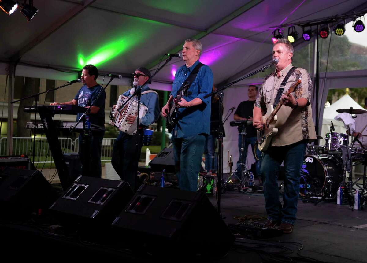 The Bayou Roux band plays at the Ogden stage during the 2020 Conroe Cajun Catfish Festival, Friday, Oct. 9, 2020. Bayou Roux opens the Cajun Stage at the Catfish Festival each year.