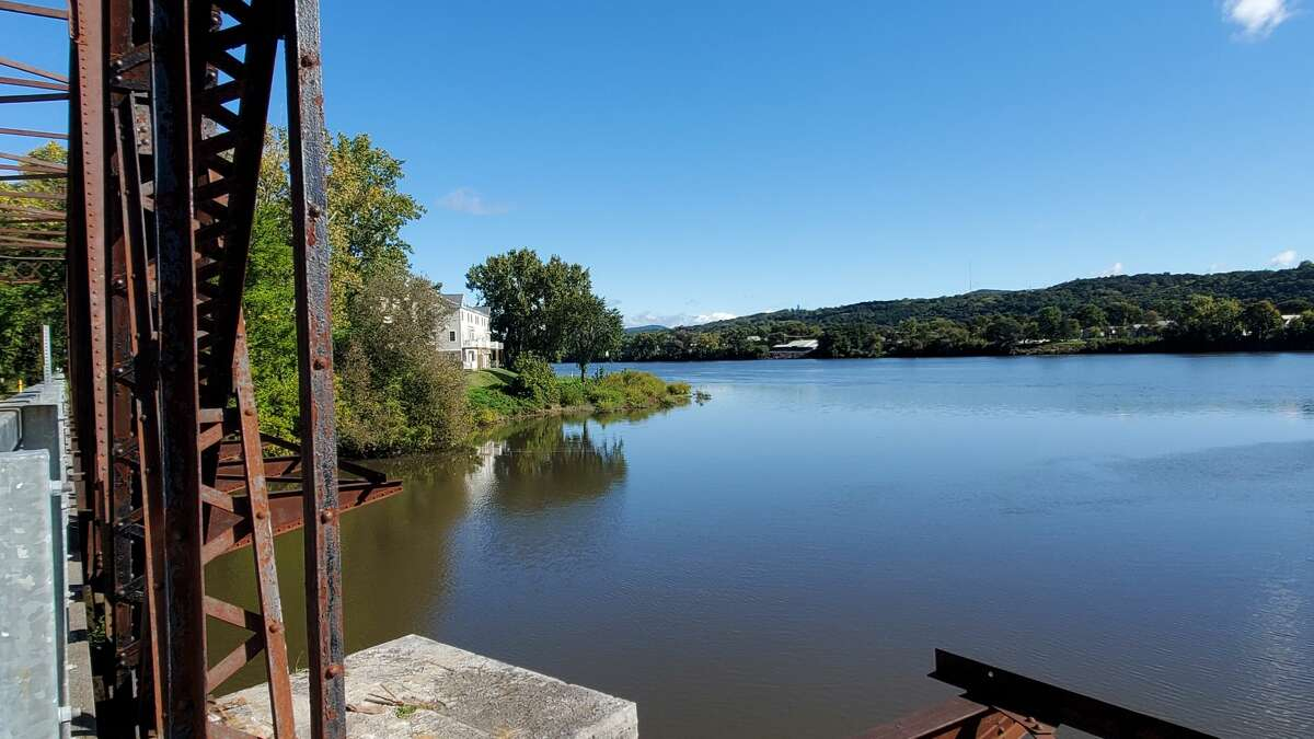 New waterfront housing in Cohoes seen from the Black Bridge trail over the Mohawk River.