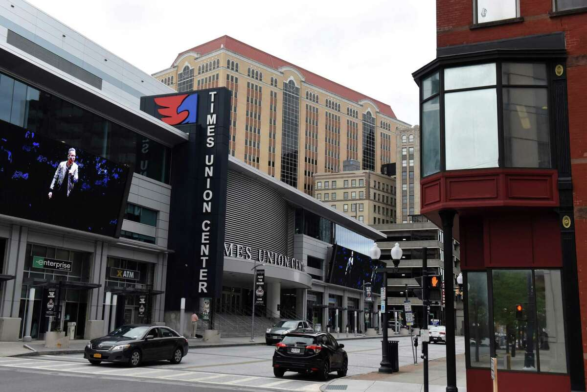 Exterior of the Times Union Center on Wednesday, Sept. 29, 2021, on South Pearl Street in Albany, N.Y. The Times Union declined to reup its 15-year run of naming rights for Albany's arena, citing efforts to expand staff and coverage in the Hudson Valley.