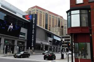 Exterior of the Times Union Center on Wednesday, Sept. 29, 2021, on South Pearl Street in Albany, N.Y. The Times Union declined to reup its 15-year run of naming rights to Albany's arena, citing efforts to expand staff and coverage in the Hudson Valley.