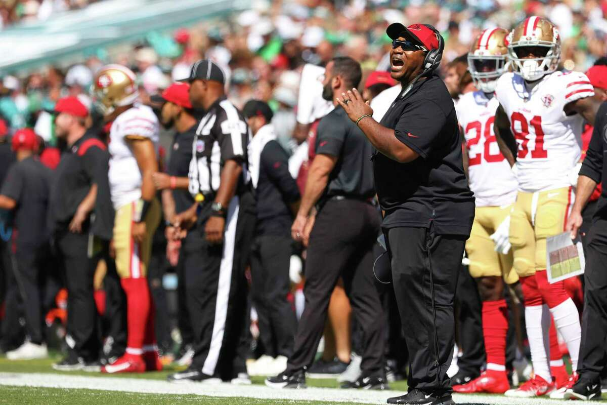 San Francisco 49ers' special teams coordinator Richard Hightower on the sidelines during an NFL football game against the Philadelphia Eagles, Sunday, Sept. 19, 2021, in Philadelphia. (AP Photo/Rich Schultz)