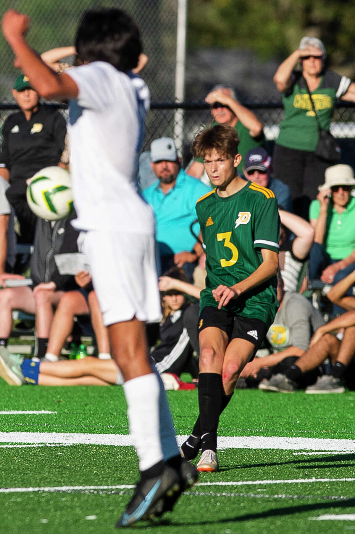 Dow's Jonah Dahn takes a free kick during the Chargers' game against Midland Wednesday, Sept. 29, 2021 at H. H. Dow High School. (Katy Kildee/kkildee@mdn.net)