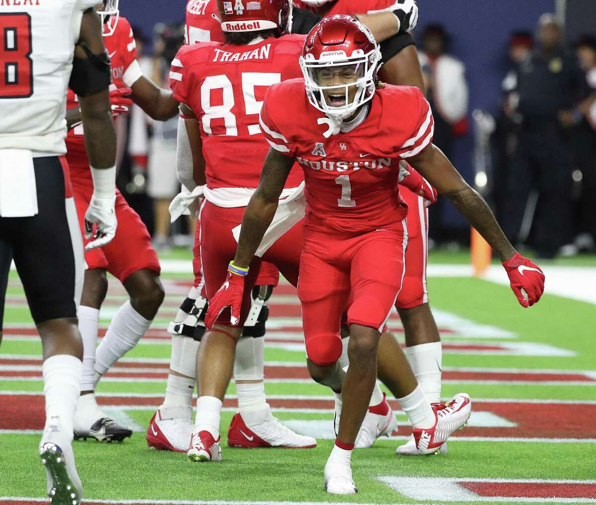 UH wide receiver Nathaniel Dell (1) celebrates a touchdown in the season opener against Texas Tech at NRG Stadium.