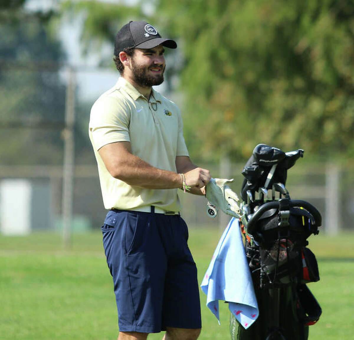Metro-East Lutheran's Antonio Ybarra waits to take a shot on the 10th fairway at the Class 1A regional on Wednesday at Spencer T. Olin in Alton.