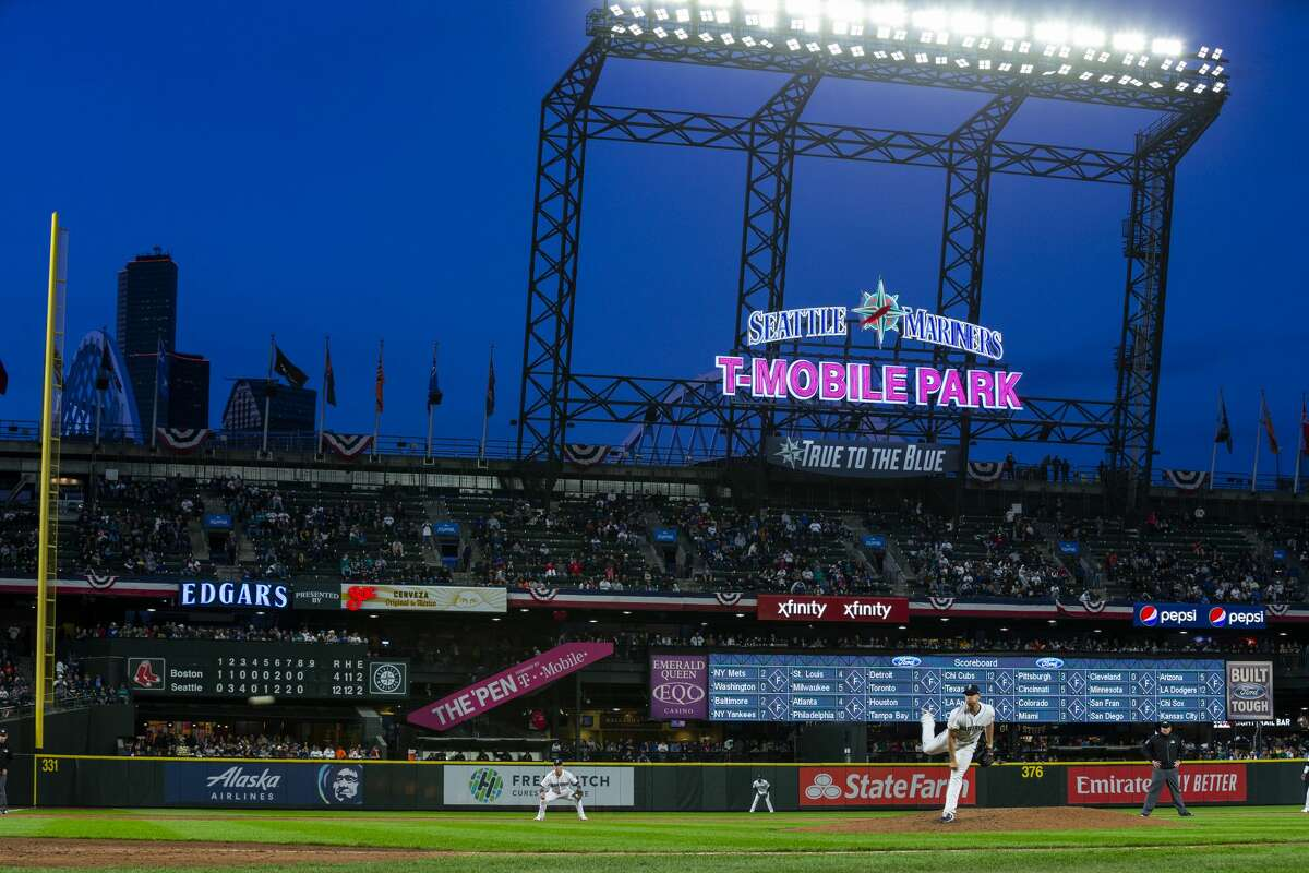 3SEATTLE, WA - MARCH 28: A general view of T-Mobile Park as seen during a Seattle Mariners game on March 28, 2019 in Seattle, Washington. (Photo by Ben VanHouten/Seattle Mariners)