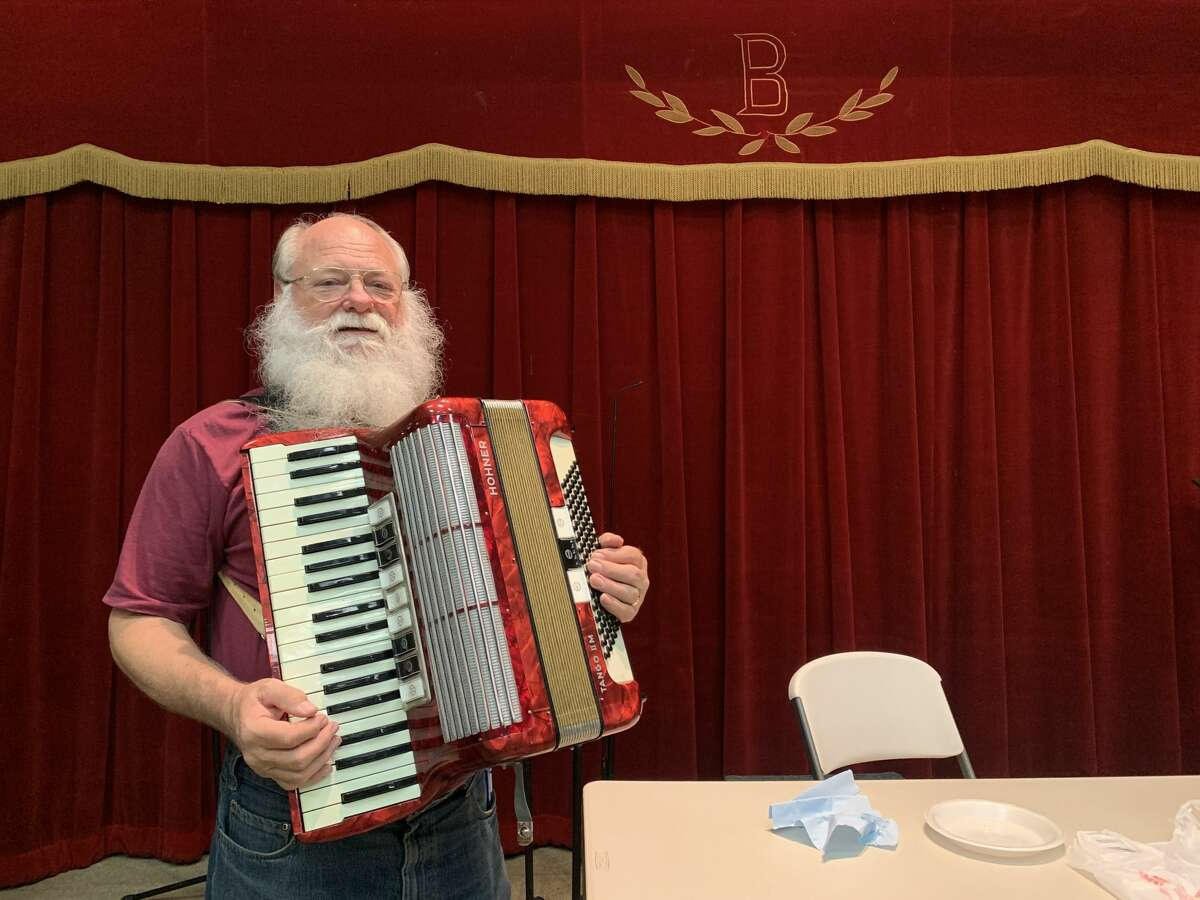 Beethoven music director David Nelson with his accordion.