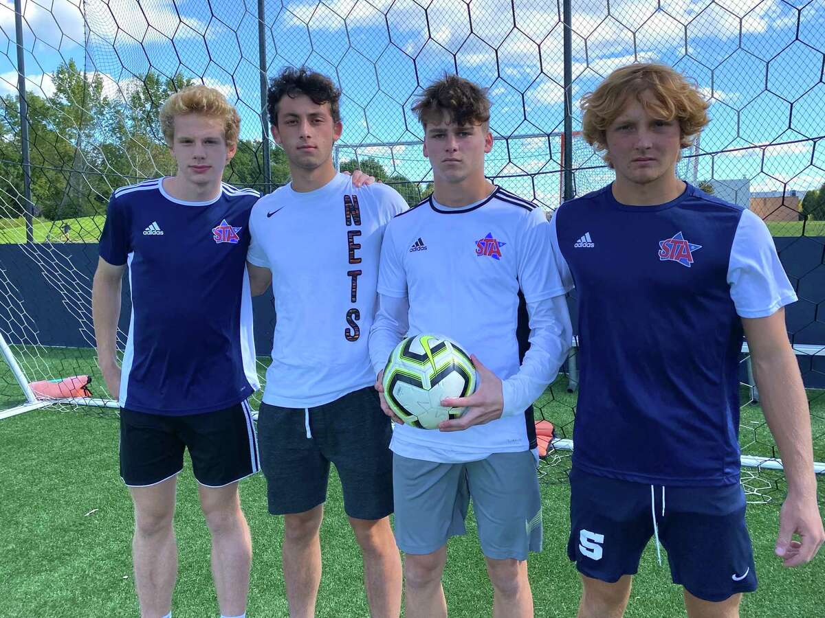 Staples' defenders Bruno Guiduli, Jackson Hochhauser, Jacob Greenberger (keeper) and Hunter Smith at Wakeman Field. Staples has only conceded one goal on the season.