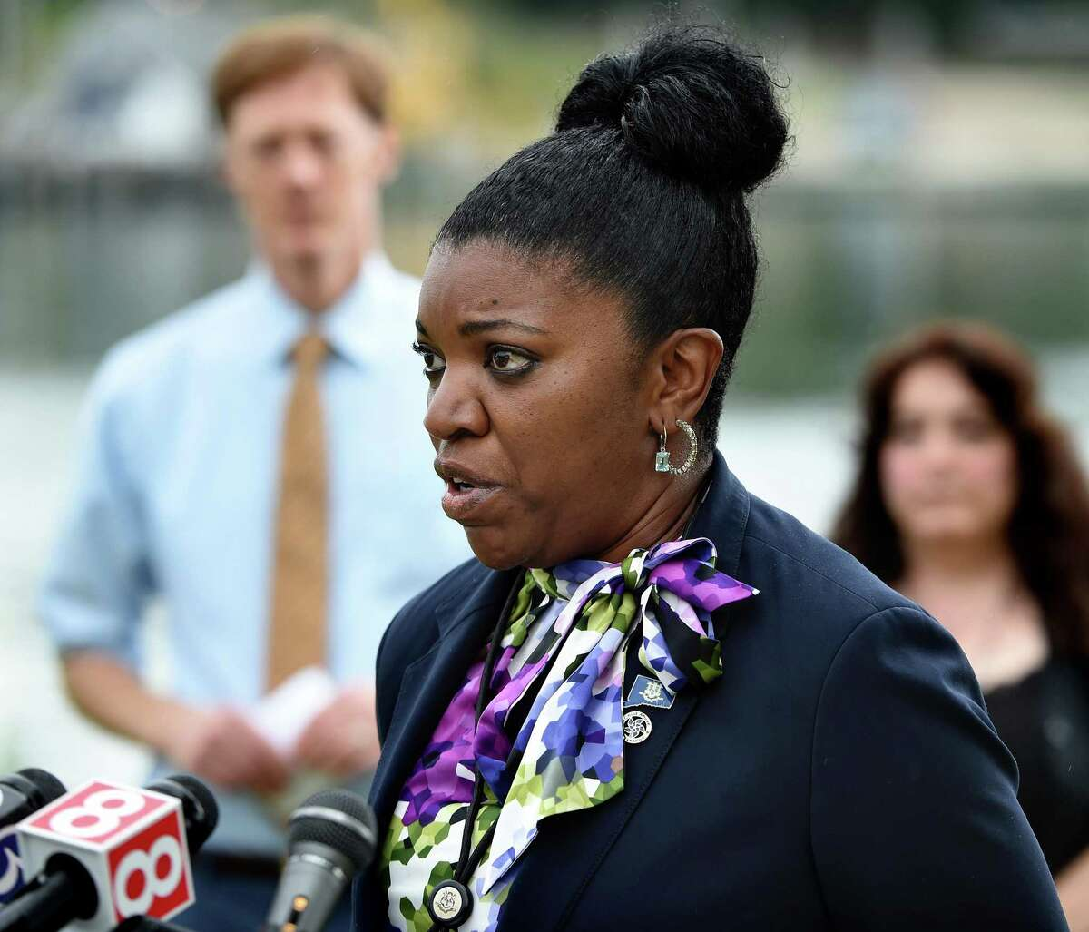 Connecticut Department of Children and Families Commissioner Vannessa Dorantes speaks at the dedication of a tree at an event, Hope Grows Here, to victims of domestic violence by the Hope Family Justice Center at the Quinnipiac River Park in New Haven on August 9, 2021.