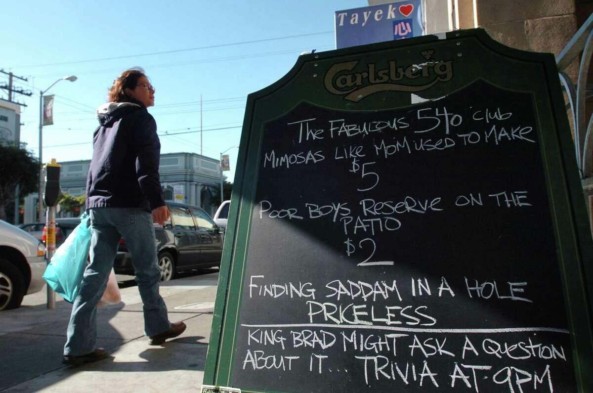 A sign on Clement Street outside the 540 Club in 2003.
