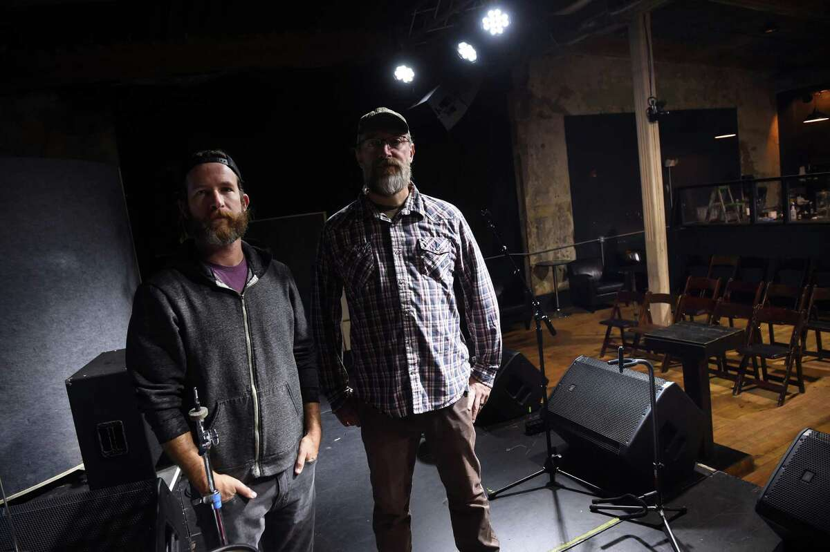 State House co-owners Slate Ballard (left) and Carlos Wells are photographed inside their music club in New Haven on September 29, 2021 which will reopen on Friday.