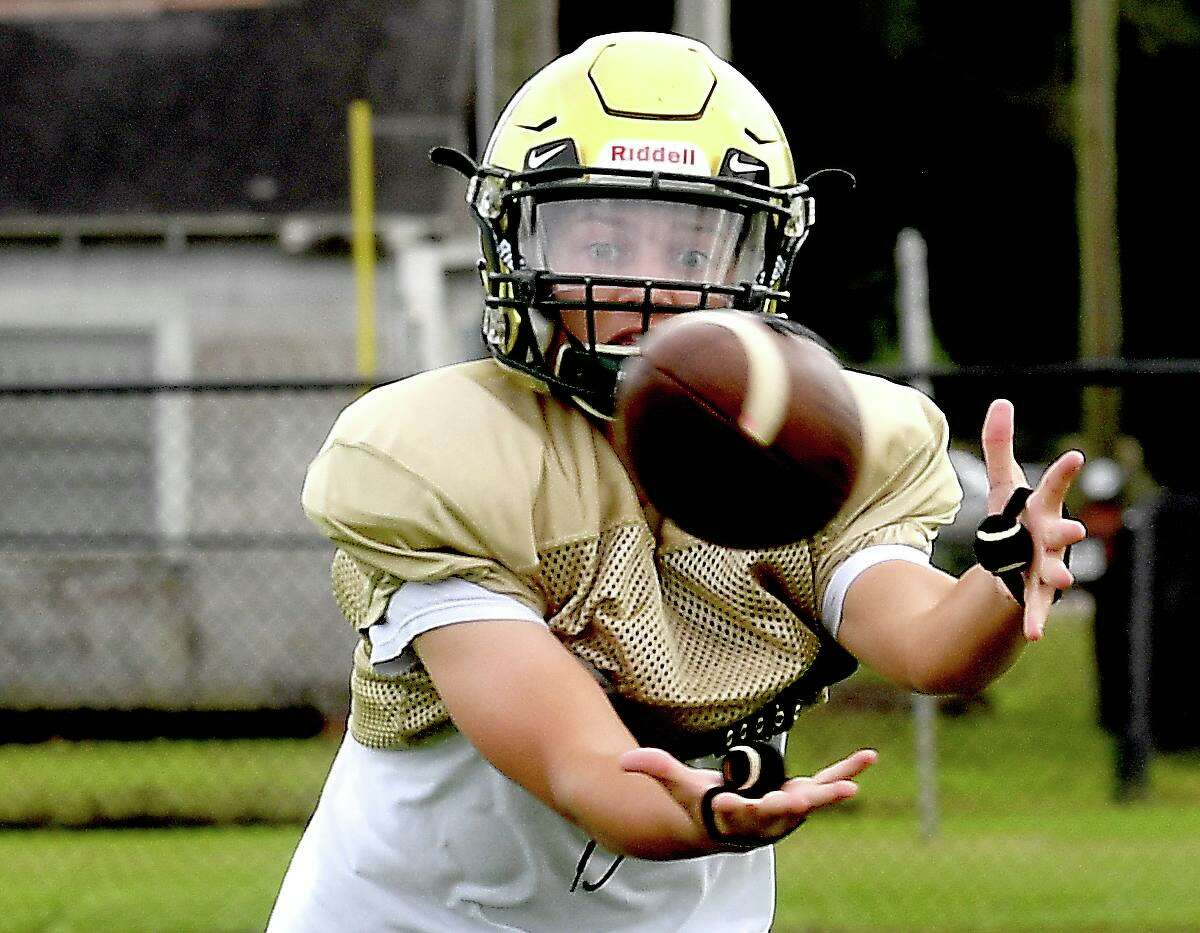 Legacy Christian Academy's football team practices as they adjust to becoming a 6-man format. Photo made Wednesday, September 29, 2021 Kim Brent/The Enterprise