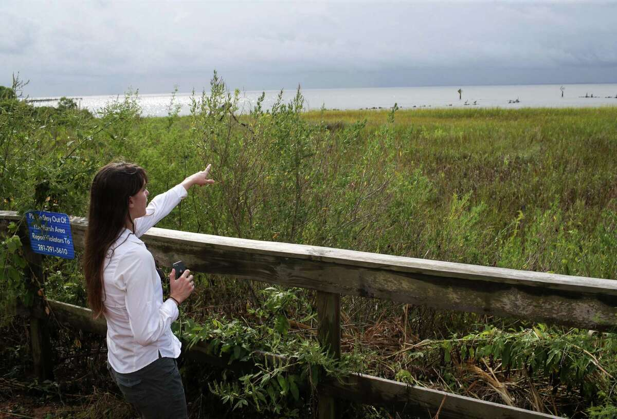 """Danielle Goshen, water policy and outreach specialist with the Galveston Bay Foundation, talks about potential environmental impacts from the proposed coastal spine, also known as the """"Ike Dike,"""" as she looks out on marshland and a breakwater Tuesday, Sept. 28, 2021, at Pine Gully Park in Seabrook. """"They haven't done the studies that we'd expect to see before making such a big investment,"""" Goshen said of the Army Corps of Engineers. """"I think more could have been done in the beginning to give us confidence."""""""