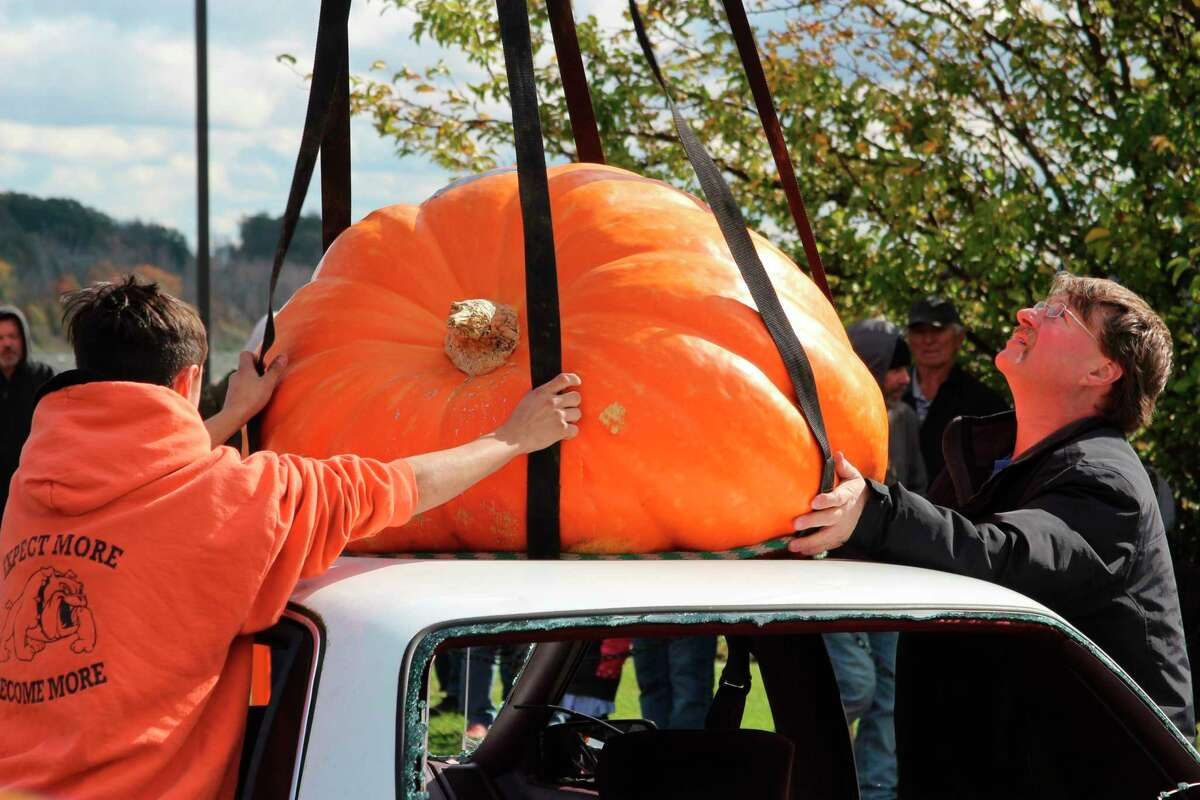 A giant pumpkin is hooked up to a crane, to be hauled into the air and dropped on a car during a past event. Frankfort's weekend of Benzie County Fall Fest is set for Oct. 9. (File Photo)