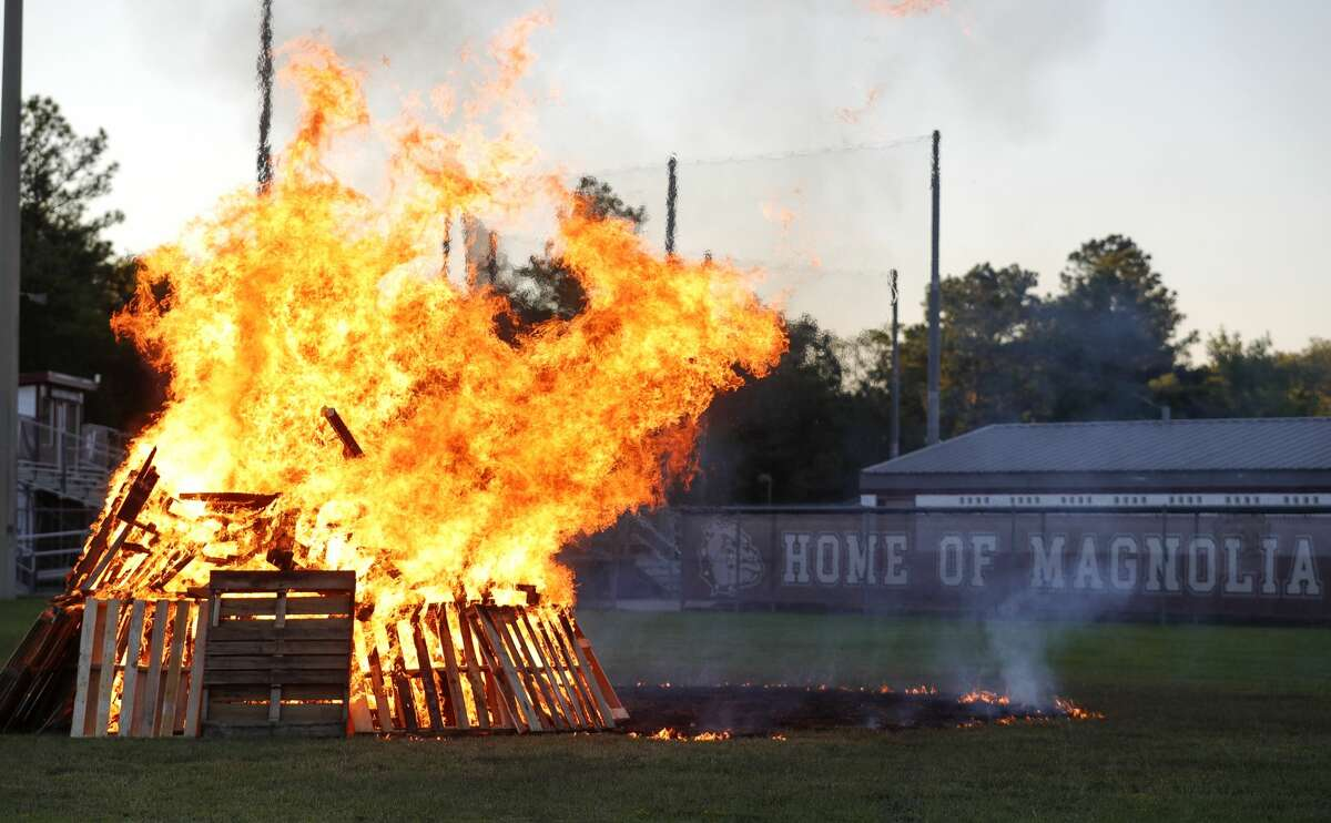 Magnolia High School students and organizations celebrated homecoming with a bonfire and pep rally, Wednesday, Sept. 29, 2021, in Magnolia. The bulldogs will host Caney Creek Friday for their homecoming game.