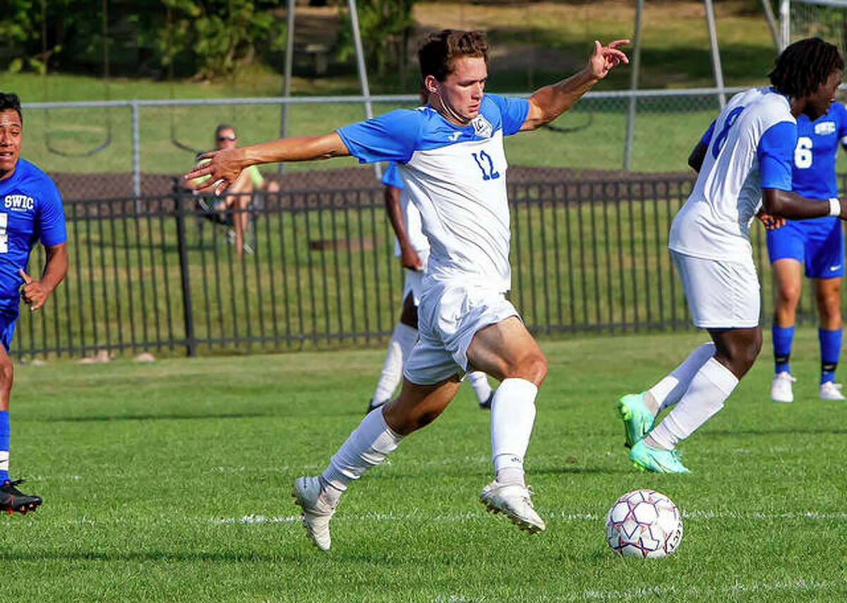 LCCC's Owen Sears settles the ball during his team's game against rival Southwestern Illinois College Wednesday at LCCC.