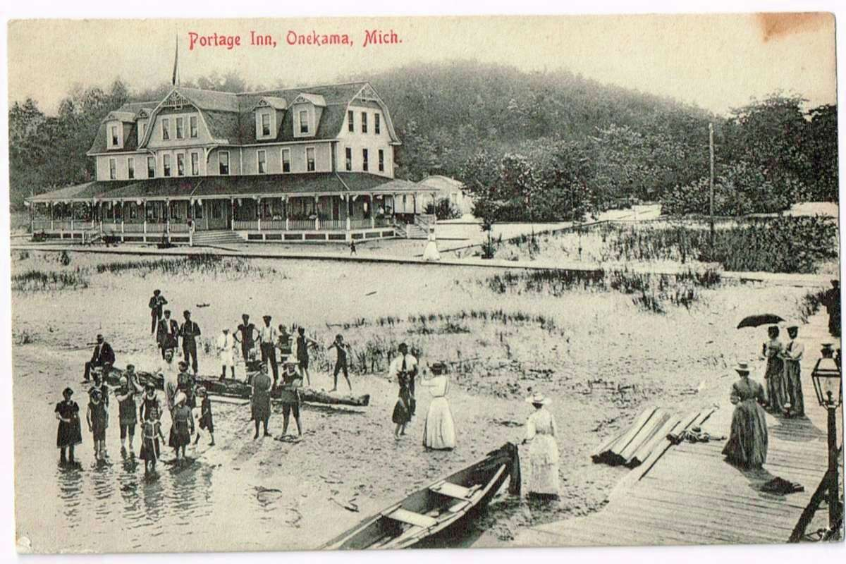 A beach scene at Portage Point Inn, 1910. The Inn will host a gala event in celebration of Onekama's 150th anniversary on Oct. 7. (Courtesy photo)