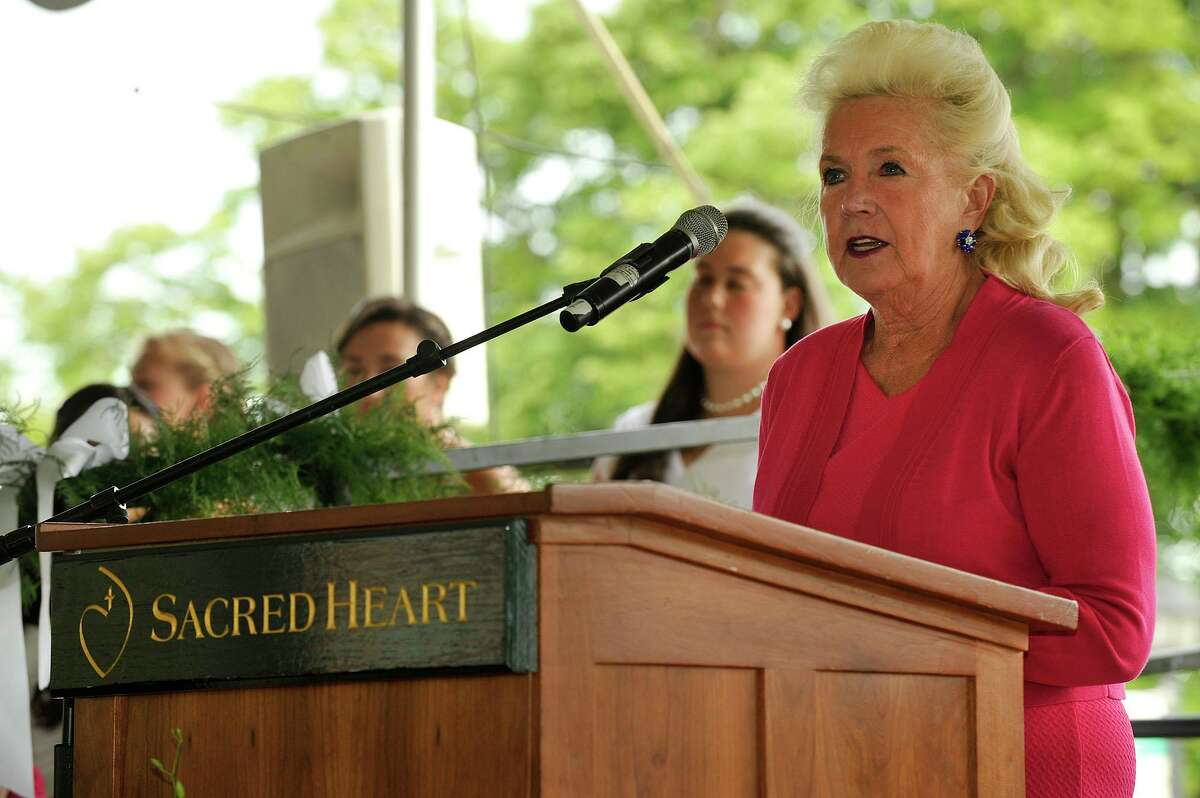 Head of School Pamela Juan Hayes speaks during the 166th commencement ceremony and mass at Convent of the Sacred Heart in Greenwich, Conn., on Friday, June 5, 2015.