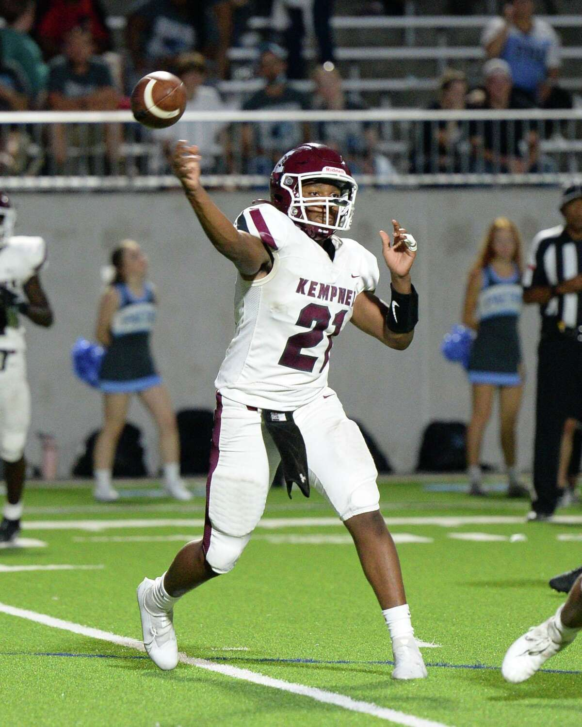 Javon Goss (21) of Kempner releases a pass during the third quarter of a District 10-5A-I football game between the Kempner Cougars and the Paetow Panthers on Saturday, September 18, 2021 at Legacy Stadium, Katy, TX.
