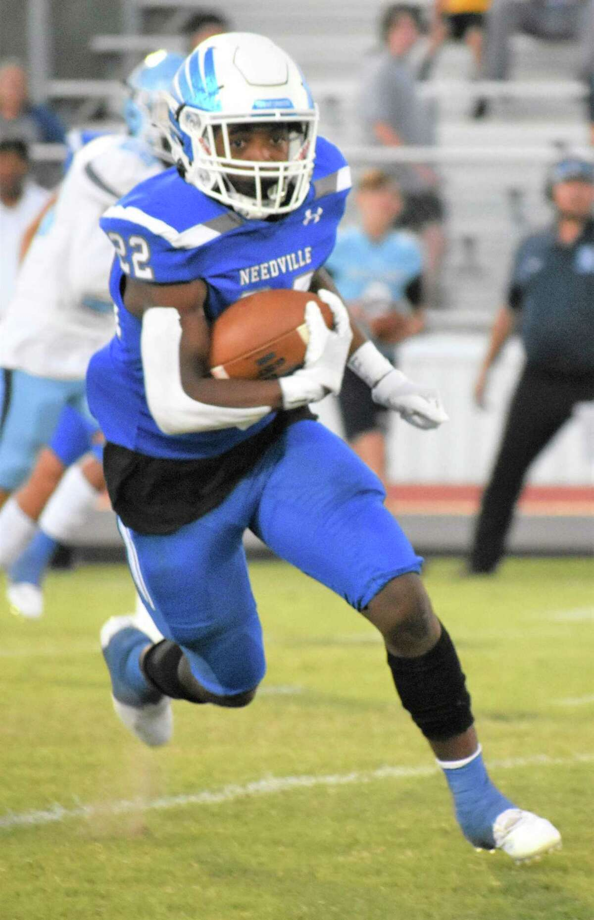 Needville running back Da'Shawn Burton carried 20 times for 175 yards and four touchdowns as the Blue Jays defeated Sweeny on homecoming in their non-district finale.
