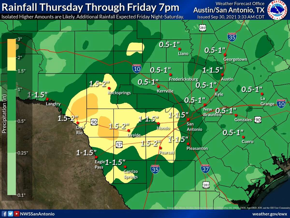 Rainfall totals are expected to be over an inch in the San Antonio area.