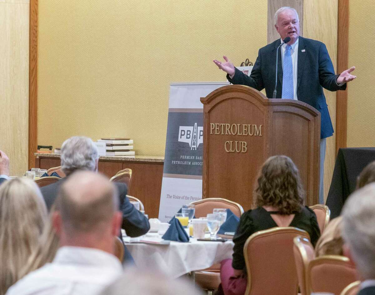 Wayne Christian, commissioner for Railroad Commission of Texas, speaks 09/30/2021 morning during the PBPA Annual Meeting at the Petroleum Club. Tim Fischer/Reporter-Telegram