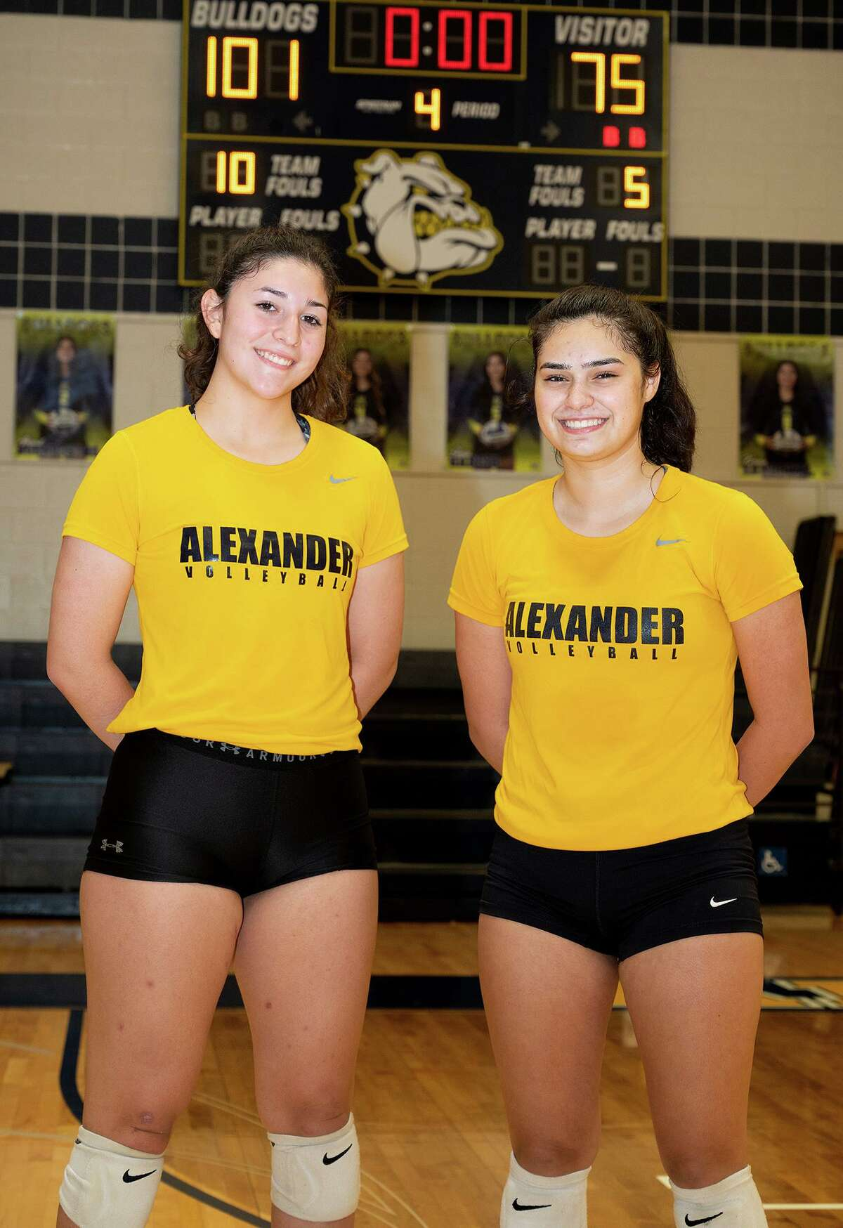 Victoria Guerrero and Valeria Ortiz gather for a feature photo Monday, Sept. 20, 2021 at Alexander High School.