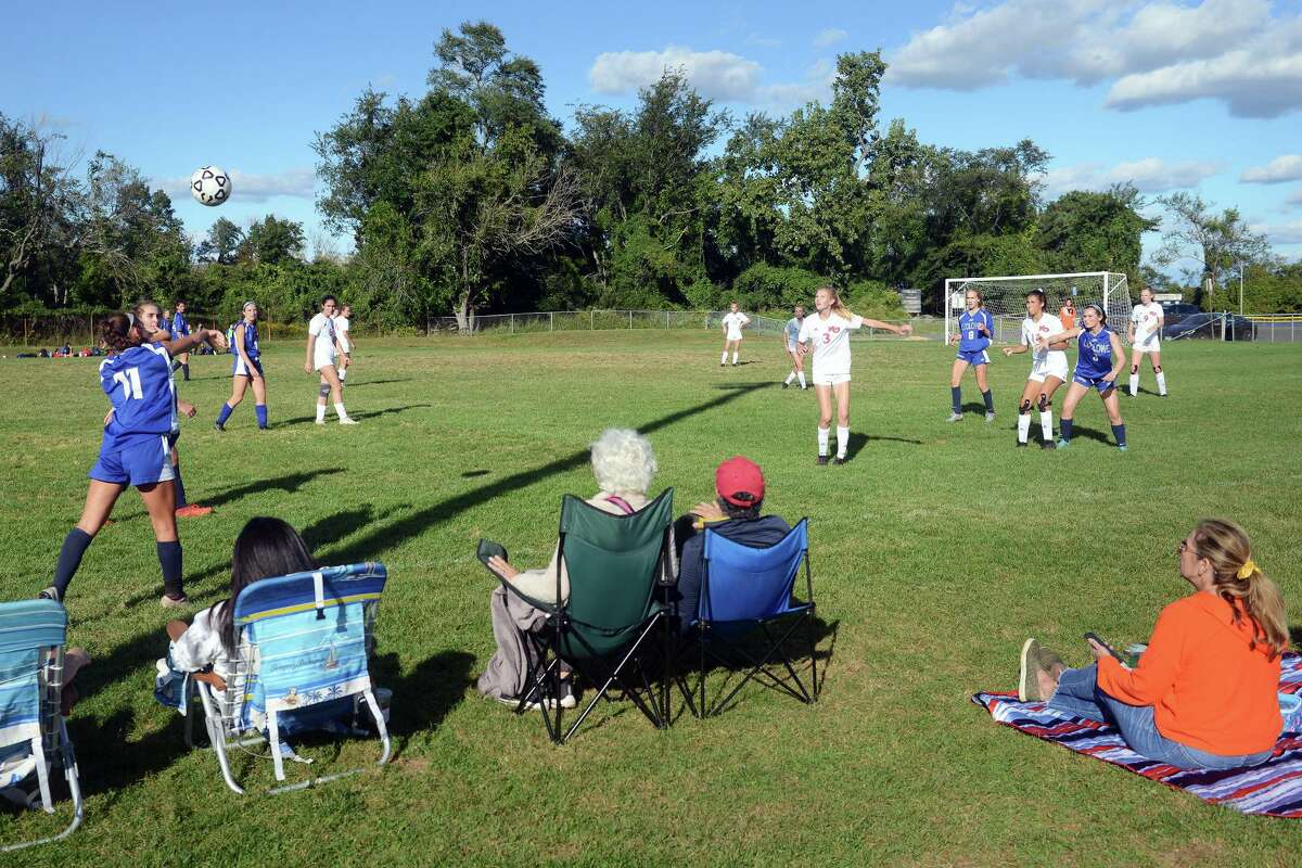 A girls high school soccer game between freshman teams from Fairfield Ludlowe and New Canaan on the soccer field on Old Dam Road on Sept. 29.