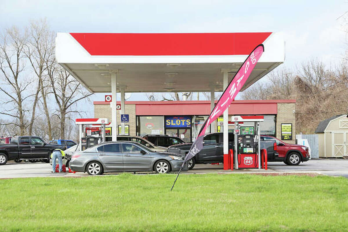 The Phillips 66 gas station on the east side of Interstate 55 at Illinois 143 in Edwardsville took the first step Tuesday toward a complete redevelopment.