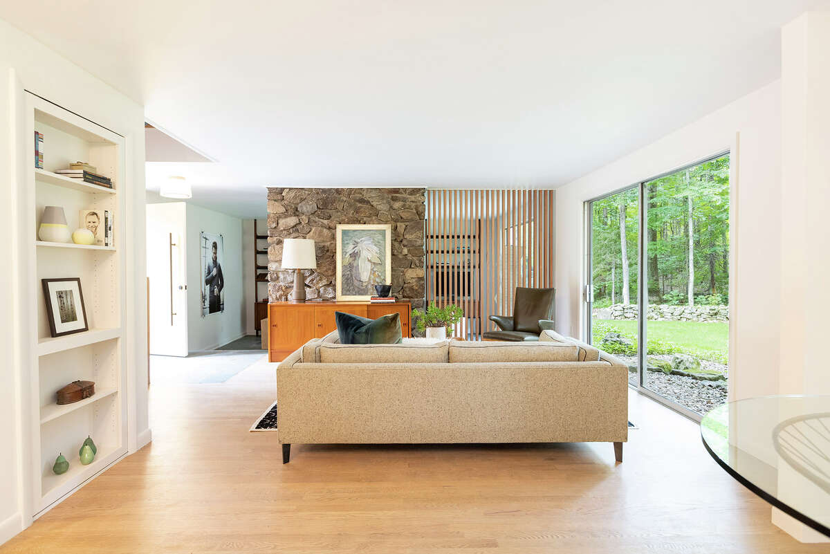 A seating area in the home on 109 Sage Road in Woodbury, Conn.
