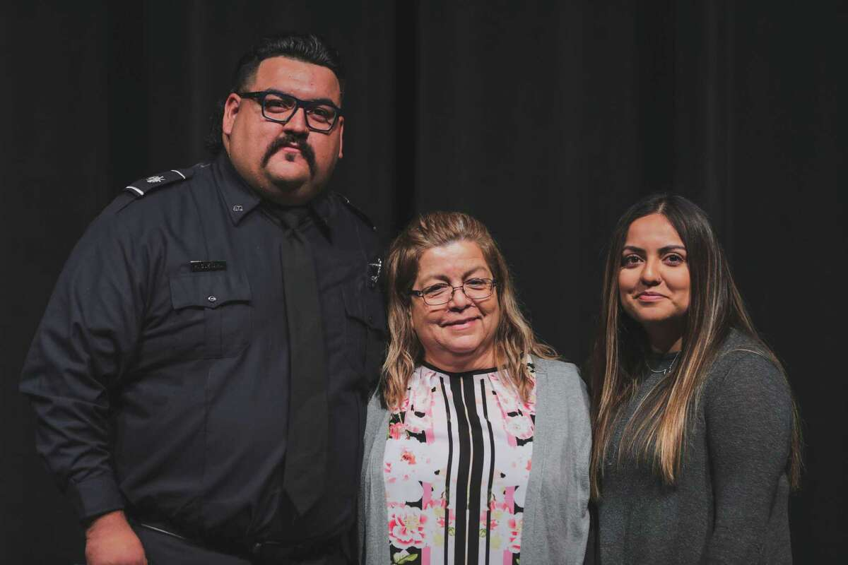 Hugo Guevara receiving an award during a badge pinning ceremony in February 2020.