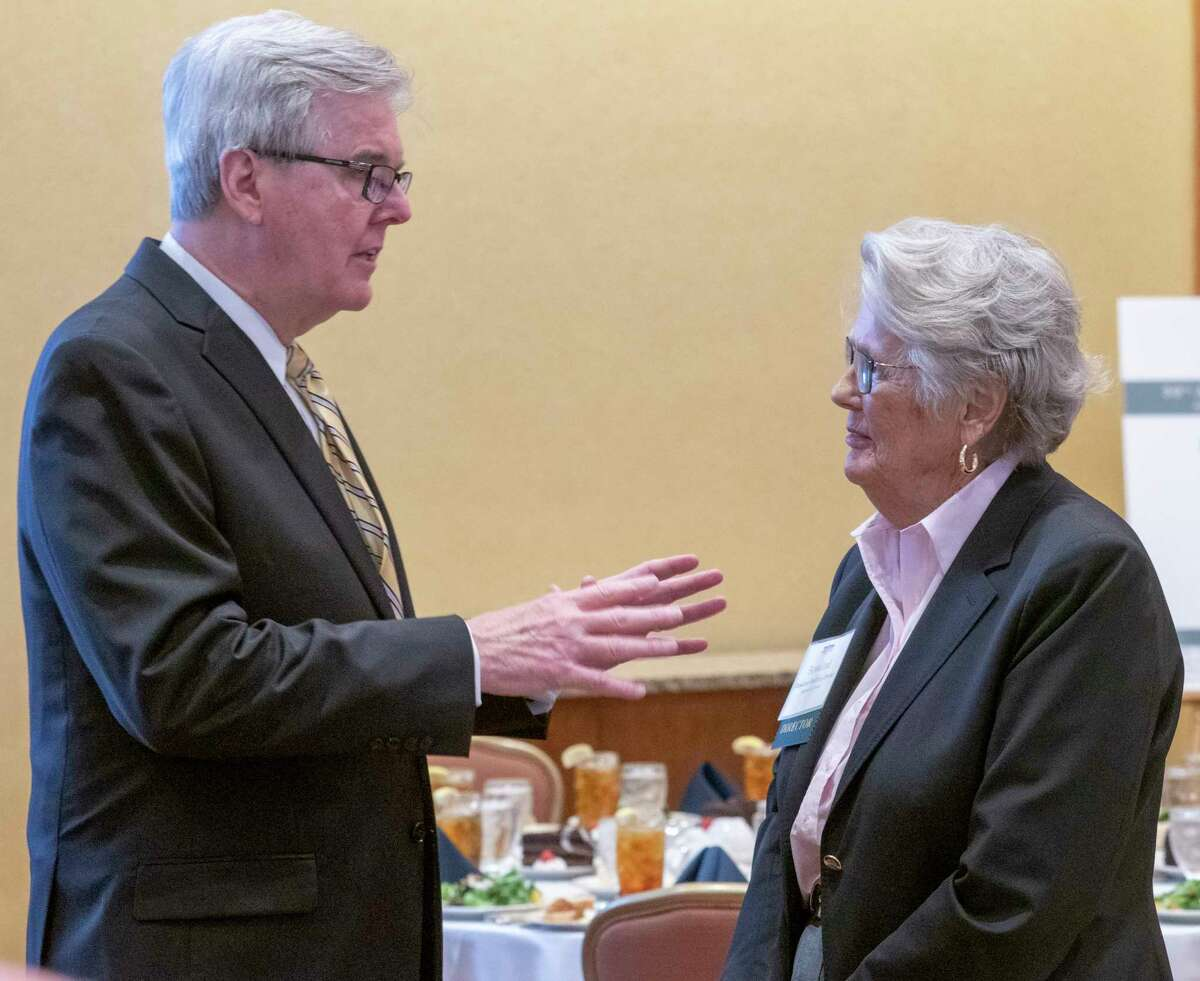 Lt. Governor Dan Patrick talks with Rosalind Redfern Grover before his keynote luncheon address at the 59th Annual Meeting of the Permian Basin Petroleum Association 09/30/2021 at the Petroleum Club. Tim Fischer/Reporter-Telegram