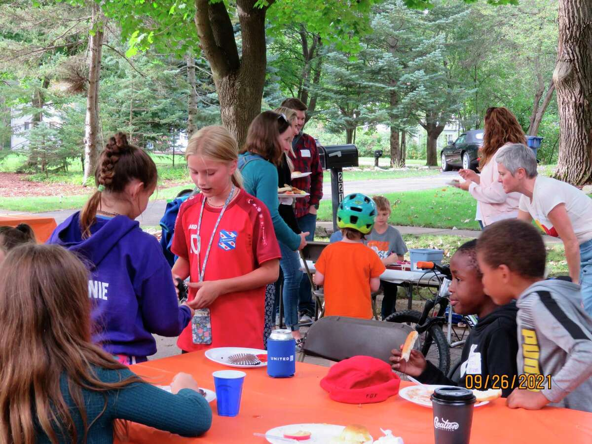 Nearly 70 people, ranging in age from 3 to 93, attended a block party in the Woodcrest School neighborhood on Sunday, Sept. 26. (Photo provided by Gary Billotti)