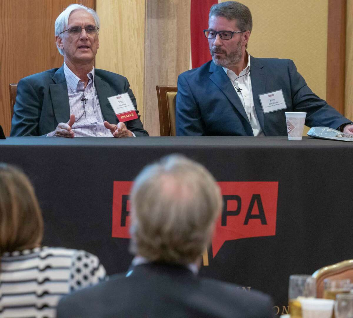 Panel discussion with CrownQuest Operating executives, Tim Dunn, CEO and Ken Beattie at the 59th Annual Meeting of the Permian Basin Petroleum Association 09/30/2021 at the Petroleum Club. Tim Fischer/Reporter-Telegram