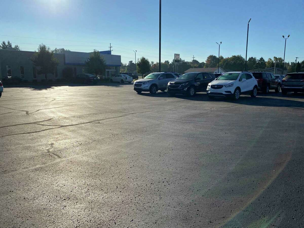 The lot for Flannery stands nearly half-empty as local dealerships face car shortages. (Connor Veenstra/Huron Daily Tribune)
