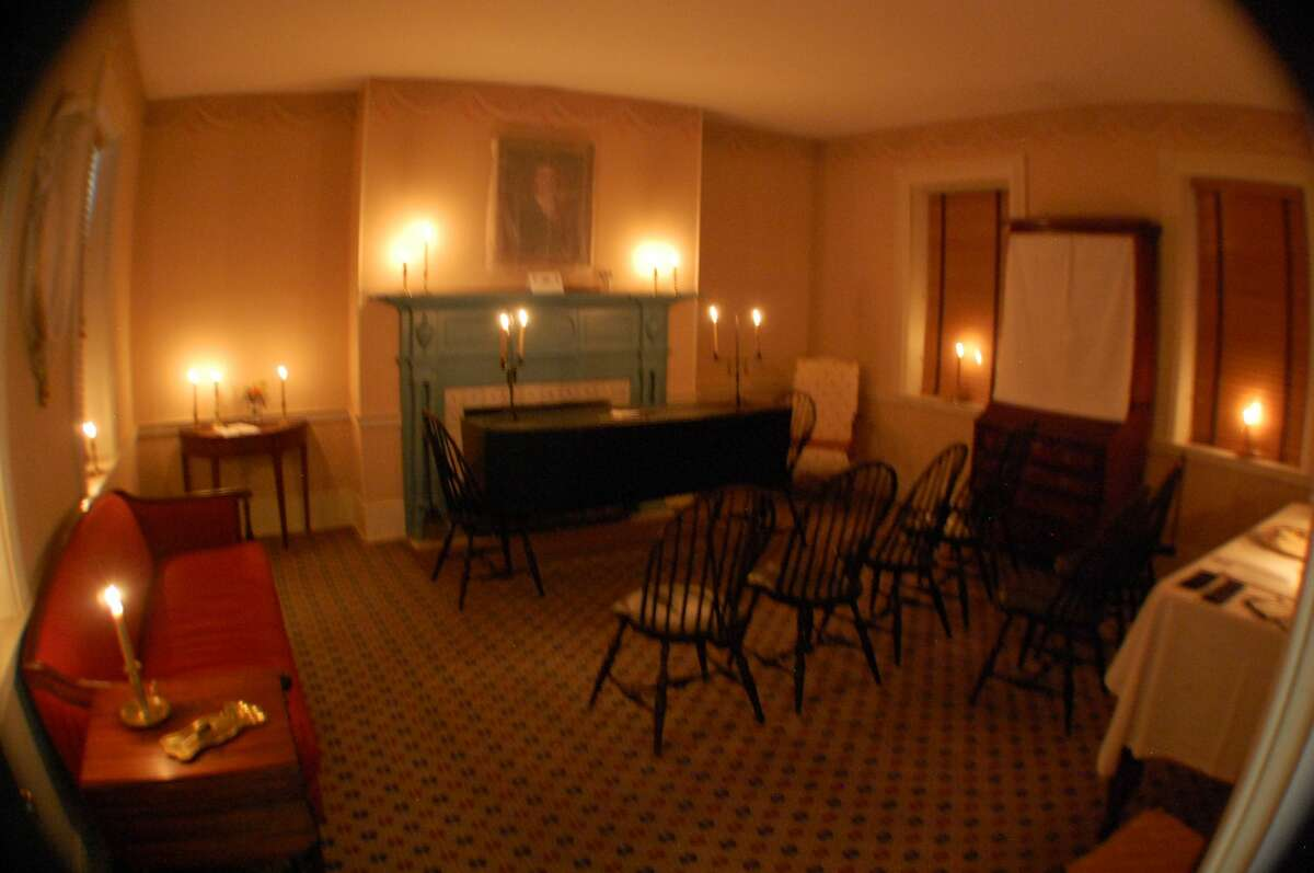 The parlor of the Col. Benjamin Stephenson House in Edwardsville, Illinois is set up just as it would've been 200 years ago for the colonel's passing. At that time, all post-death services were held in the family home.