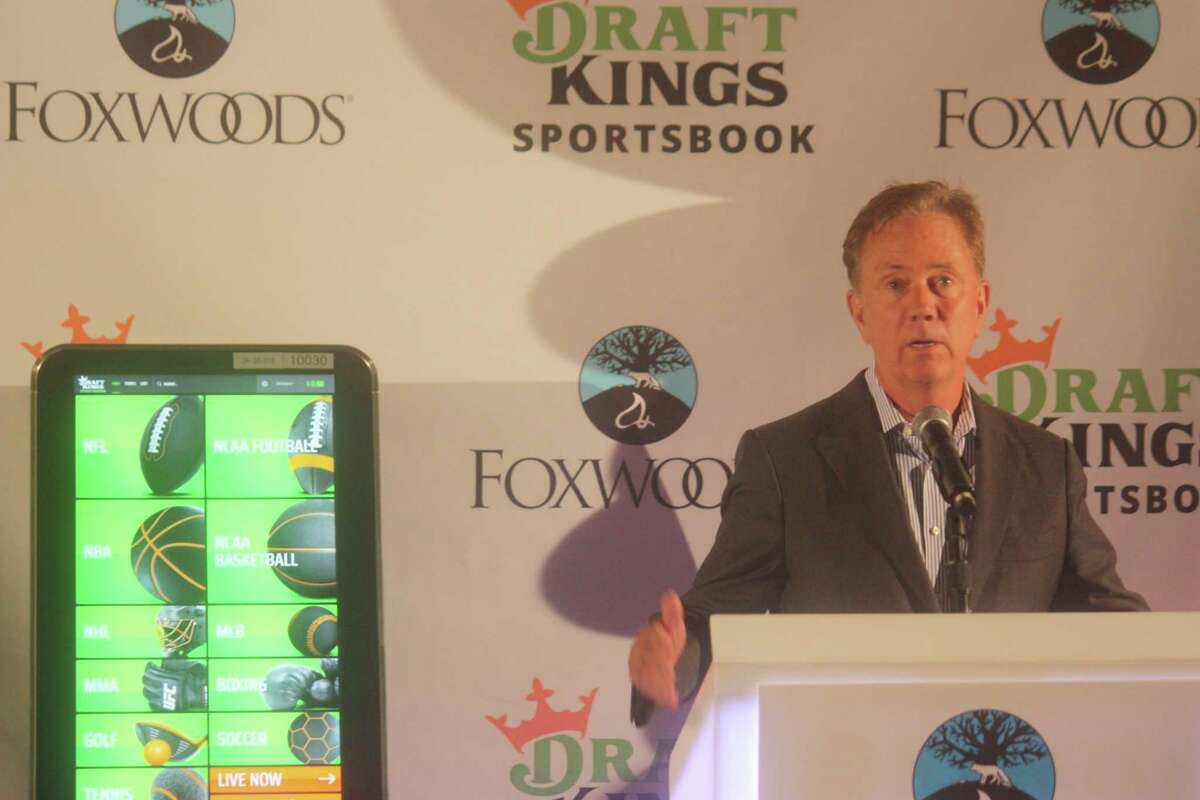Gov. Ned Lamont speaks at the opening of the DraftKings Sportsbook at Foxwoods Casino on Sept. 30.